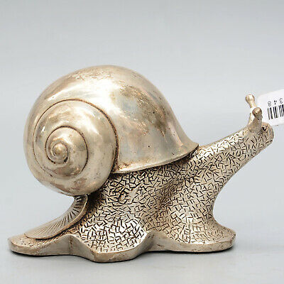 Collectable China Old Miao Silver Hand-Carved Delicate Lovely Snail Decor Statue