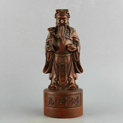 Collectable Handwork China Old Boxwood Carved Mammon Moral Bring Wealth Statue