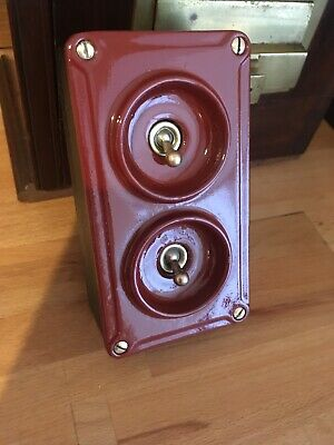 Vintage Industrial 2 Gang Light Switch 1940 Crabtree Red & Black