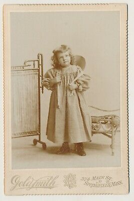 Antique Cabinet Card Photo Adorable little Girl Springfield MA by Goldsmith