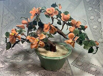 Vintage Jade Glass PEACH BLOSSOM Bonsai Tree 17 inches wide by 12 inches tall