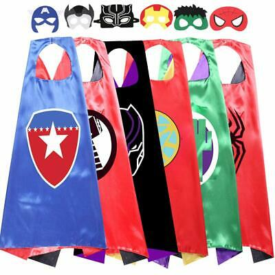 Kids Cartoon Superhero Capes Dressing Up Costume and Mask for Halloween Brith...