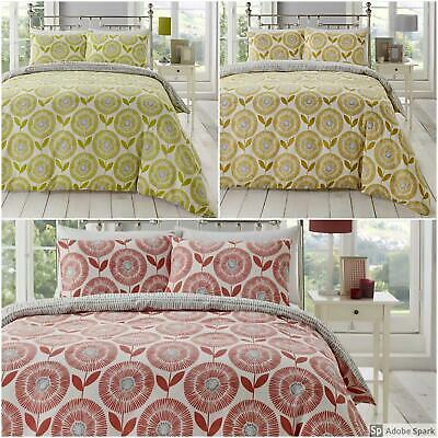 ADA FLORAL Geometric DUVET COVER Double Sided Reversible BEDDING SET