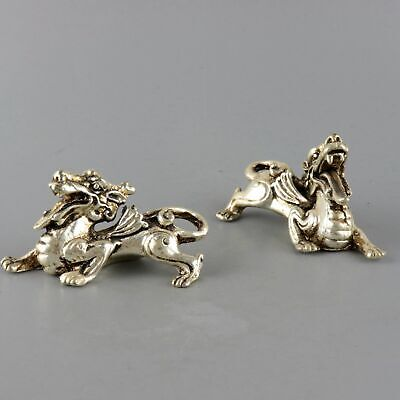 Collectable China Old Miao Silver Hand-Carved A Pair Myth Exorcism Kylin Statue