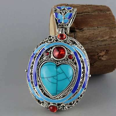 Collect Old Cloisonne Inlay Turquoise Zircon Carve Butterfly Noble Decor Pendant