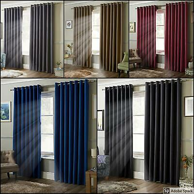 THICK THERMAL BLACKOUT Ready Made EYELET Ring Top Curtains FULLY LINED