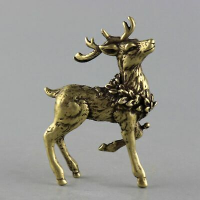 Collect China Old Bronze Hand-Carved Lovely Elegant Elk Delicate Decor Statue