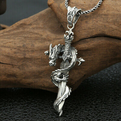 Collect China 999 Silver Hand-Carved Cross Sword Enwind Dragon Exorcism Pendant