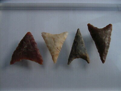 4 Ancient Neolithic Flint Arrowheads, Stone Age, VERY RARE !!  TOP !!