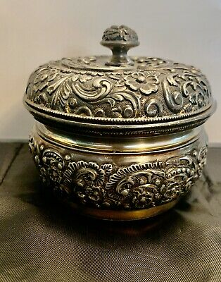 Antique Wilcox Silver Plate Repousse Jar Quadruple Plate GILT 01982 c. 1885