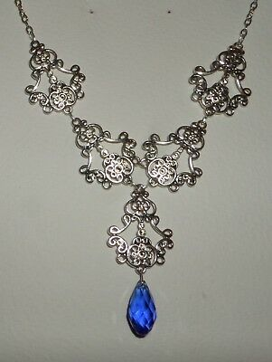 Filigree Victorian Style Silver Plate & Faceted Blue Glass Briolette Necklace