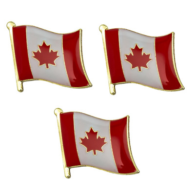 3 X Canada Maple Leaf Canadian Country Flag Lapel Pin Badge