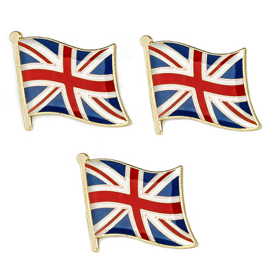 3 X Union Jack Britain British Nation National Country Flag Lapel Pin Badge