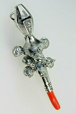 Rattle Vintage Style 800 Silver & Coral Baby Babbies  Chew/ Bell/ Rattle Whistle