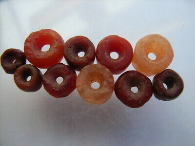 10 Ancient Neolithic Red Jasper, Carnelian Beads, Stone Age, RARE ! TOP!