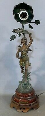 Antique ART NOUVEAU Era NEWEL POST Figural LADY SWAN HARP STATUE Bannister LAMP