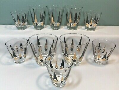 Vintage Mid-Century 1950's Gold/Black ATOMIC ARROWS BAR WARE Glasses Set of 10