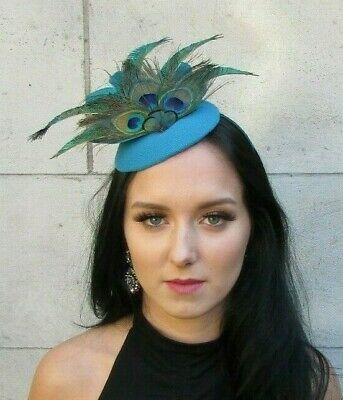 Teal Turquoise Blue Green Peacock Feather Hat Fascinator Races Wedding Hair 7654