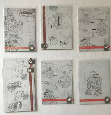 2019 Topps Star Wars Journey to Rise of Skywalker Schematics Lot Of 7 Cards