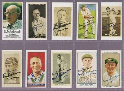 Unique Set Of 20 Repro Cricket Cards With Genuine Bradman Autographs On Fronts