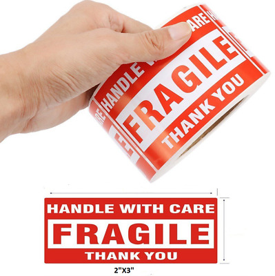 "500PCS 2""x3"" Fragile Handle with Care Thank You Mailing Labels Self Adhesive"