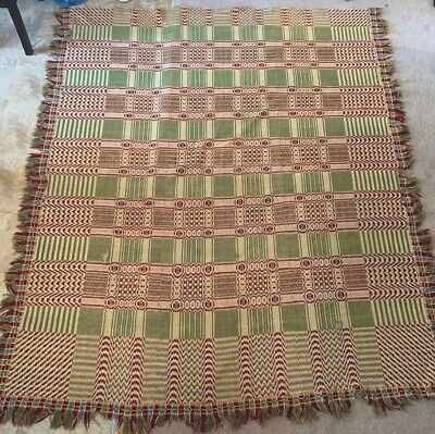 19thC Antique VICTORIAN CHRISTMAS Green & Red PRIMITIVE Old OVERSHOT COVERLET