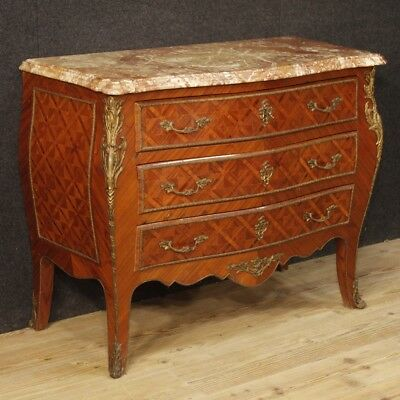 Dresser Cupboard Antique Style Louis XV Chest of Drawers Furniture Wood Marble