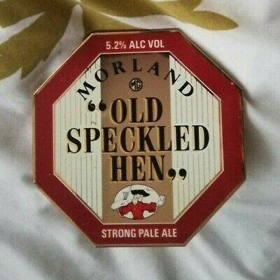 MORLAND brewery OLD SPECKLED HEN beer pump clip BRASS with MG LOGO ale badge