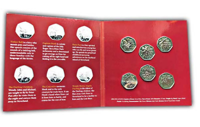 isle of man fifty pence, full set of 6 Peter Pan, 2019 50p Coin Collector Set