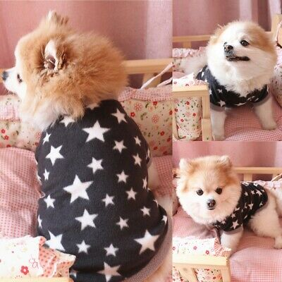 Dog Fleece Clothes Soft Warm Stars Pattern Pet Sweater Coat Vest For Small Dogs