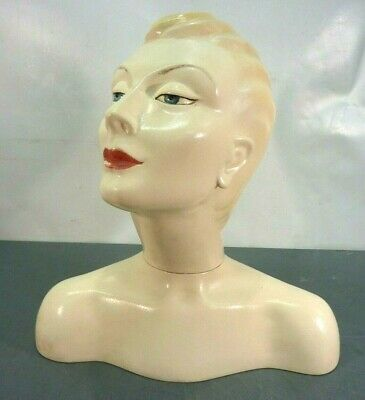 Vtg Life Size 1940's Style Mannequin Head Bust Art Deco Store Hat Display