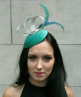 Silver Turquoise Sea Green Velvet Peacock Feather Pillbox Hat Fascinator 7660