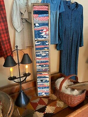34 In Long Old Wooden Box W/ Early Quilt Pcs Red Blue Calico Homespun Textiles
