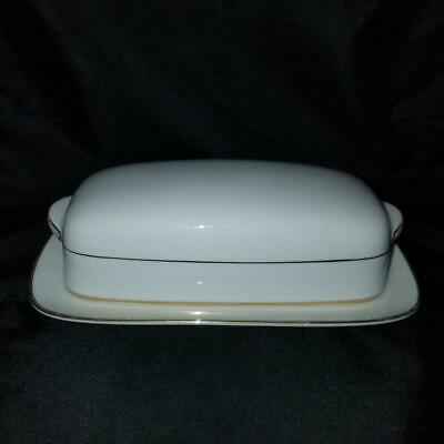 Noritake China Japan Dawn Pattern #5930 White with Gold Trim Covered Butter Dish