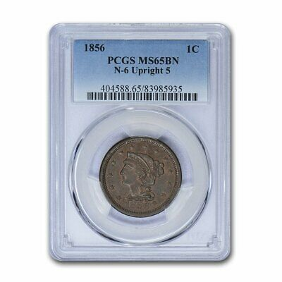 1856 Large Cent MS-65 PCGS (Brown, Upright 5) - SKU#157404