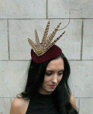 Large Burgundy Red Bronze Brown Pheasant Feather Hat Fascinator Headband 7666