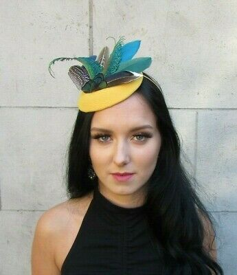 Mustard Yellow Green Navy Blue Teal Peacock Feather Hat Fascinator Races 7667
