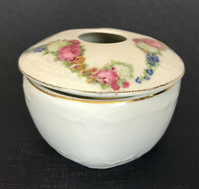ANTIQUE  BAVARIA HAIR RECEIVER White embossed ROSES, HAND PAINTED