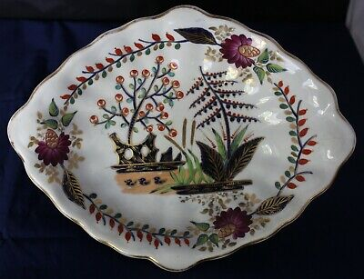 Antique Royal Crown Derby Scalloped Serving Bowl Hand Painted - Made In England
