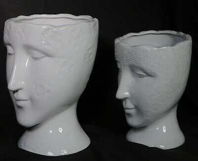 Vintage BIG WHITE Head Vases Urn Mid Century Modern Style Sculpture Bust Pottery