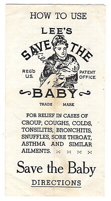 4 Sided, How To Use Lee's Save The Baby Medicine, William W. Lee Co. of Troy, NY
