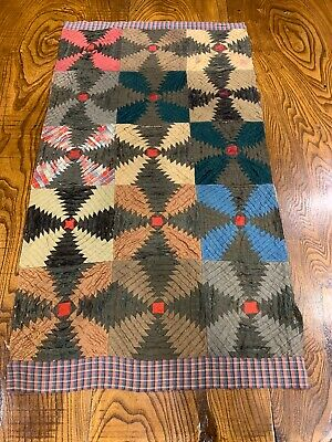 Early Runner Size Quilt Piece Rare Pattern Textiles Stacked Folded In Bowl