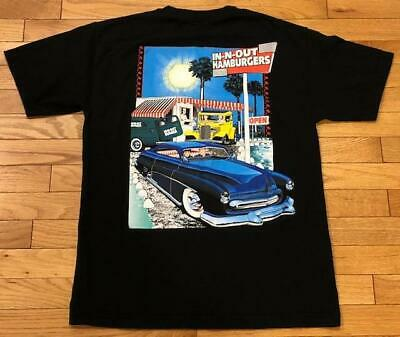 In N Out Burger California Vintage Classic Cars Black Graphic T-Shirt Size M