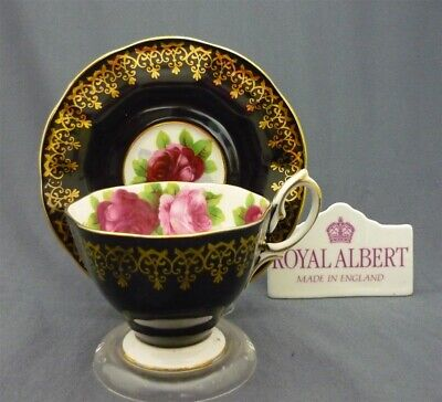 Royal Albert ENGLAND Fancy Black w/ Pink Roses Bone China Tea Cup & Saucer Duo