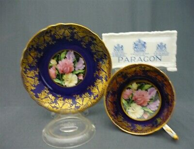 WIDE Paragon England Bone China Tea Cup Saucer Duo Cobalt & Heavy Gold Flowers