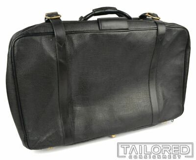 """GUCCI Solid Black Leather Travel Suitcase Weekender Luggage Bag - 30"""" x 18"""""""