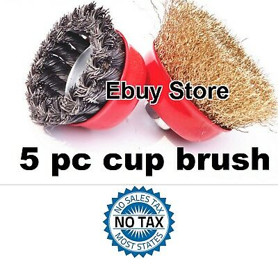 "5pc  3"" Arbor FINE Crimp & 4"" Knot Wire 5 Cup Brush Twist For Angle Grinder"