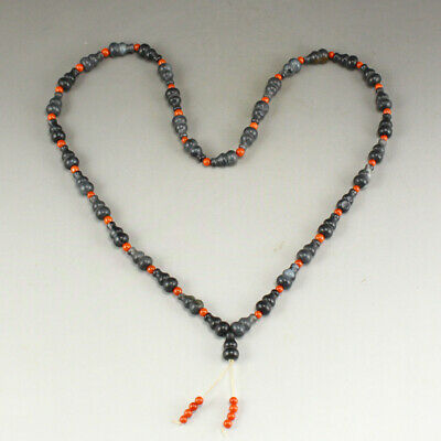 Chinese Hetian Jade Gourds Beads Necklace w Certificate