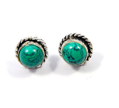 Turquoise .925 Silver Plated Handmade Stud Earring Jewelry JC8139
