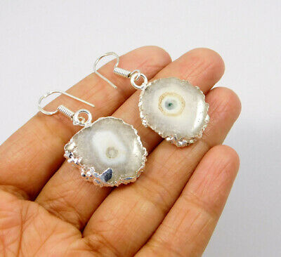 White Solar Agate .925 Silver Plated Handmade Earring Jewelry JC10084